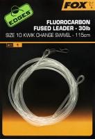 Fox Edges Fluorocarbon Fused Leader 30lb Size 10 KC Swivel 115cm