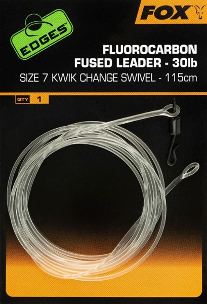 Fox Edges Fluorocarbon Fused Leader 30lb Size 7 KC Swivel 115cm