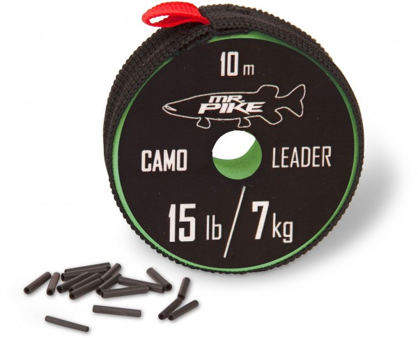 Mr. Pike Camo Coated Leader Material 10m 7kg 15lbs