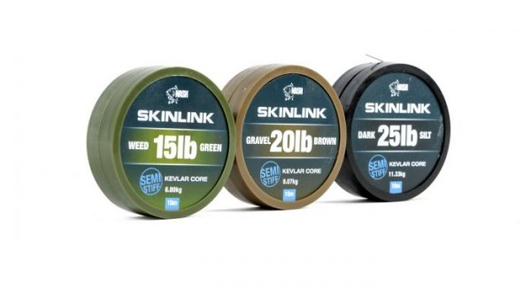 Nash Tackle Skinlink Semi-Stiff 20lb Dark Silt 10m