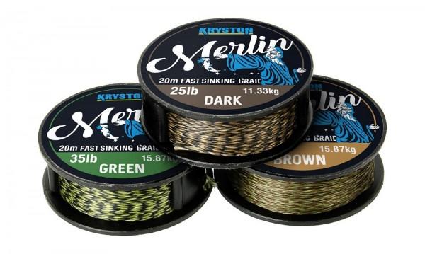 Kryston Merlin Fast Sinking Supple Braid Weed Green 20m 15lb