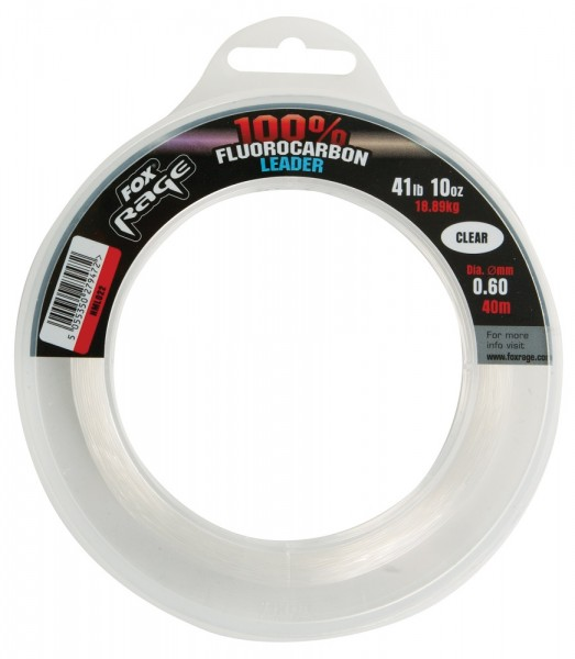 Fox Rage Fluorocarbon Leaders 0.60mm 18.89kg / 41.64lb x 40m