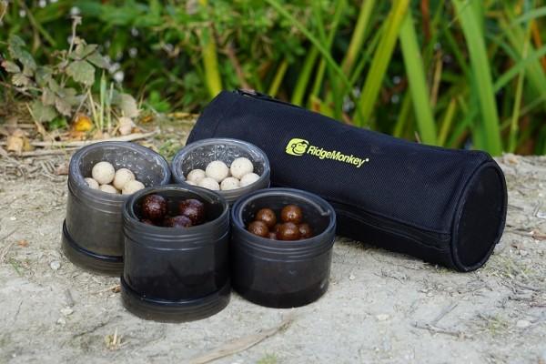Ridgemonkey Modular Hookbait Pots with Carry Case Black