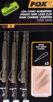 Fox Edges Camo Submerge Power Grip Lead Clip KC Kit 40lb x3