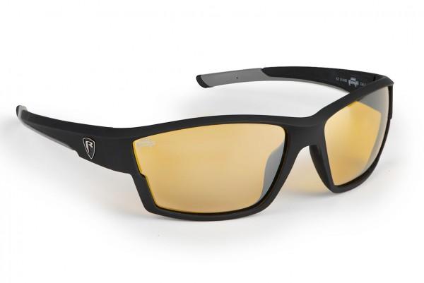 Fox Rage Matt Black Frame Amber Lense Wrap Sunglasses